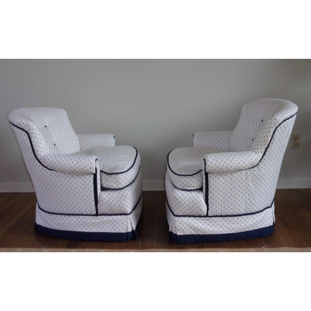 Custom Swivel Chairs, White & Navy, Pair For Sale In Pittsburgh - Image 6 of 10