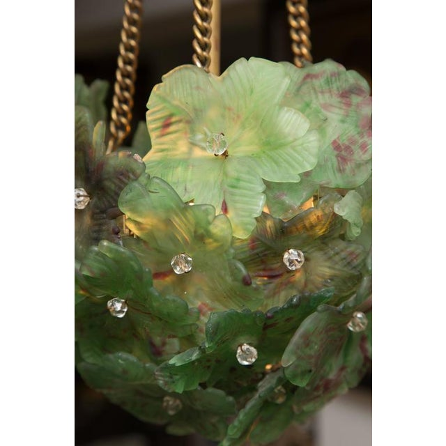 Unusual Light Pendant with Green Glass Florets - Image 5 of 6