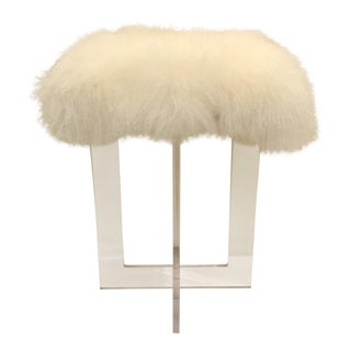 Contemporary Moss Studio Mongolian Sheepskin Stool For Sale