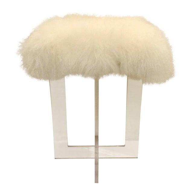 Contemporary Moss Studio Mongolian Sheepskin Stool For Sale