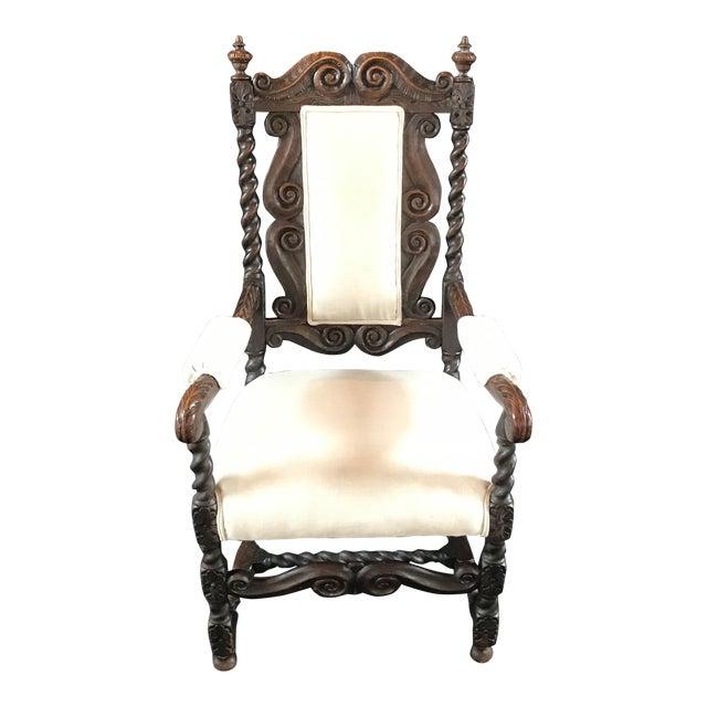 18th Century Vintage Carved Oak Jacobean Arm Chair For Sale
