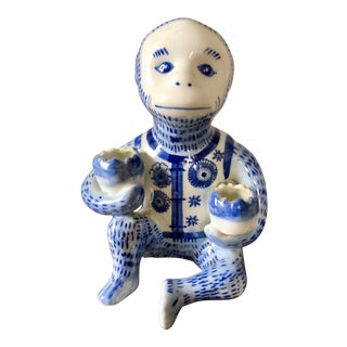 Vintage Blue & White Chinoiserie Monkey Candle Holder For Sale