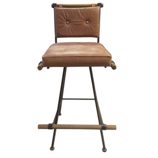 Cleo Baldon Iron & Leather Swivel Stool For Sale