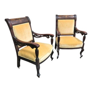 Victorian Mahogany Inlaid Chairs- a Pair For Sale