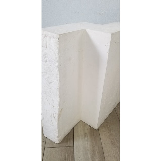 White Postmodern Geometric White Plaster Pedestal For Sale - Image 8 of 12