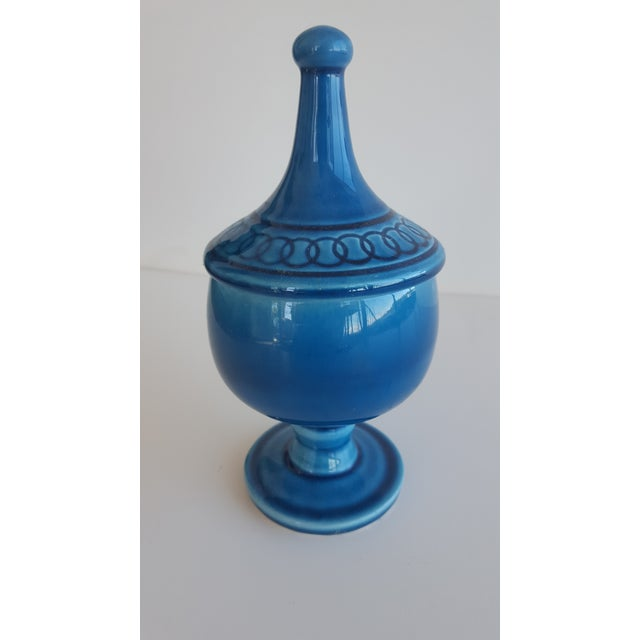 Mid Century Glazed Ceramic Cerulean Blue Compote Apothecary Jar with Lid For Sale - Image 5 of 9