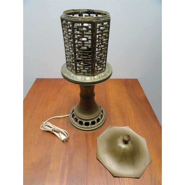 Mid-Century Chinese Style Solid Brass Table Lamp For Sale In Los Angeles - Image 6 of 8