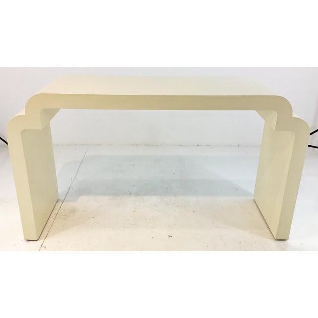 Asian modern style Celerie Kemble for Henredon Ellsworth cream wood console table, showroom floor sample, original retail...