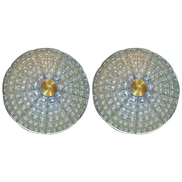Pair of Orrefors Flush Mounted Fixture by Carl Fagerlund For Sale In New York - Image 6 of 6