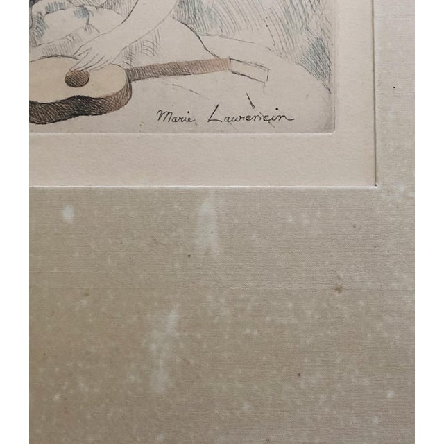 """Marie Laurencin Hand Colored Etching """"Jeune Fille a La Guitare"""" For Sale - Image 4 of 6"""