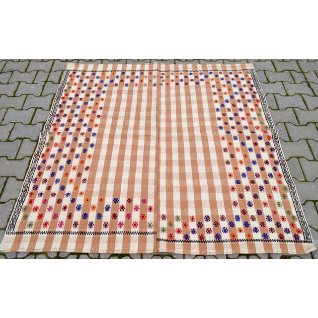 "Dimensions: 59.5"" x 60.6"" or 4'11"" x 5'1"" Material: Made of 10% wool on 90% cotton Condition: Rug is in Very Good..."