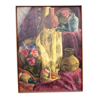 1960s Vintage Suzanne Peters Oil on Canvas Studio Still Life With Roses, Peonies, Clay Vessels & Fruit Painting For Sale