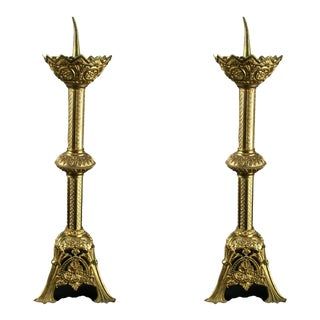 1900 French Altar Candlesticks - a Pair For Sale