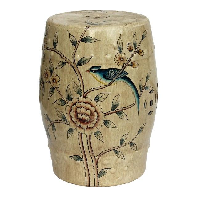 Handmade Beige Porcelain Bird Flower Round Stool Ottoman - Image 1 of 7