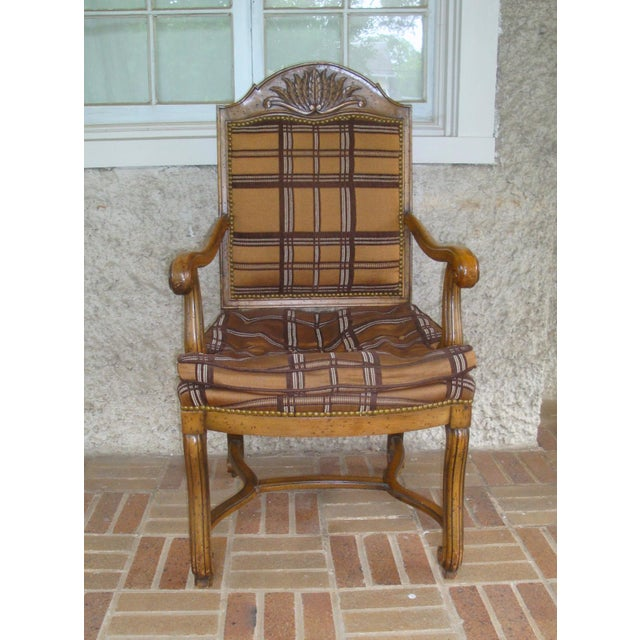 Gorgeous pair of vintage high quality solid wood arm chairs with great style detailing in the French Country manner. Arch...