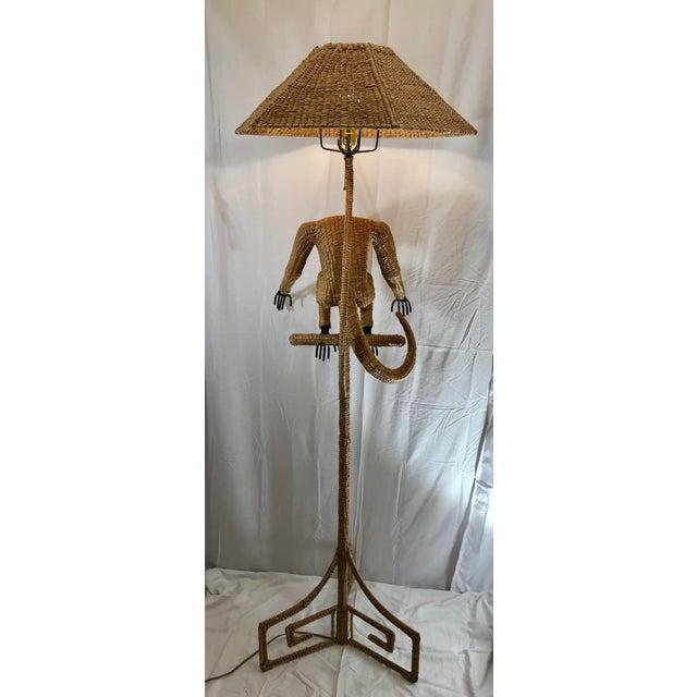 1970s Mario Lopez Torres Mid-Century Wicker Monkey Floor Lamp For Sale In Indianapolis - Image 6 of 13
