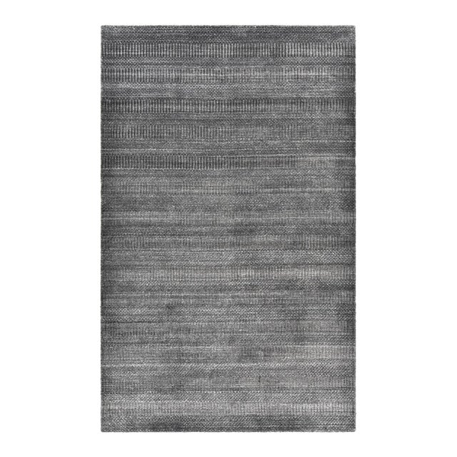 Sanam, Contemporary Solid Hand Loomed Area Rug, Dark Gray, 5 X 8 For Sale - Image 9 of 9