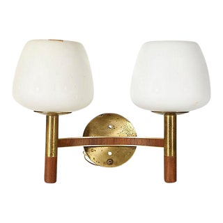 1960s Brass & Walnut Wall Sconce For Sale