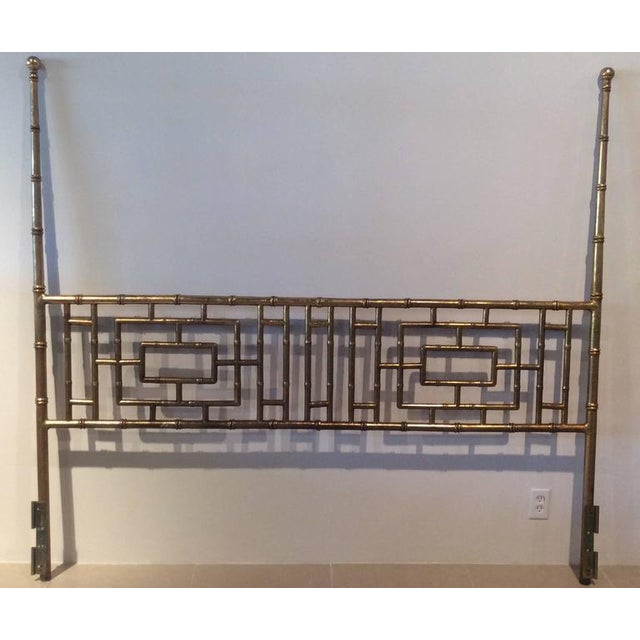 Gold Vintage Faux Bamboo Chinese Chippendale King-Size Headboard For Sale - Image 8 of 11