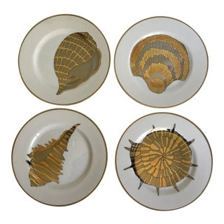 "8-Vintage Fitz and Floyd ""Coquilles Combinees"" Gold Shell Plates For Sale"