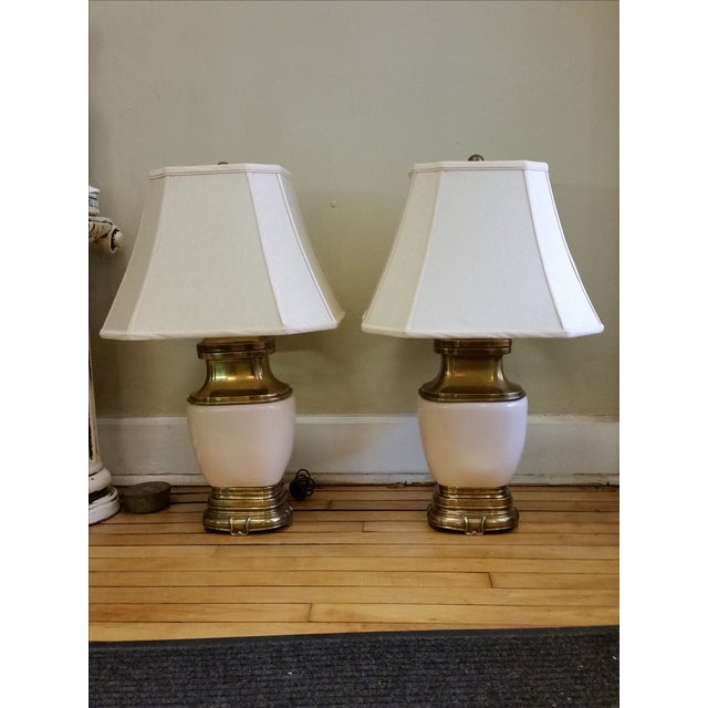 Chapman Ceramic and Brass Hollywood Regency Lamps - Pair - Image 2 of 9