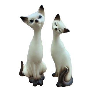 Mid-Century Siamese Cat Figurines - a Pair For Sale
