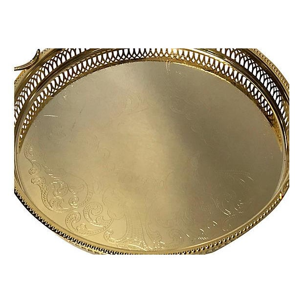 1980's 14K gold plated pierced serving tray. No makers mark. Light surface scratches.