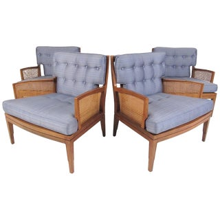 Mid-Century Modern Walnut and Cane Lounge Chairs - Set of 4