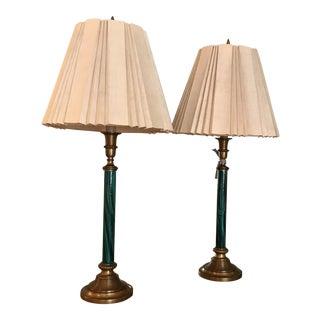 Faux Malachite Chapman Buffet Lamps - A Pair