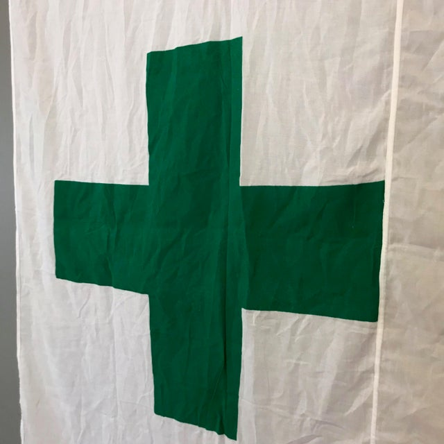 Industrial Vintage Green Cross Flag For Sale - Image 3 of 6