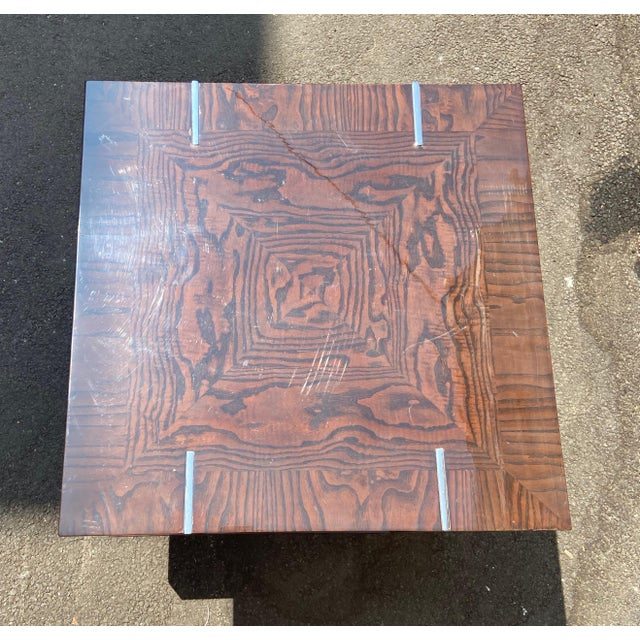 Contemporary Two-Tier Wood Lacquer and Chrome Table For Sale In Los Angeles - Image 6 of 10