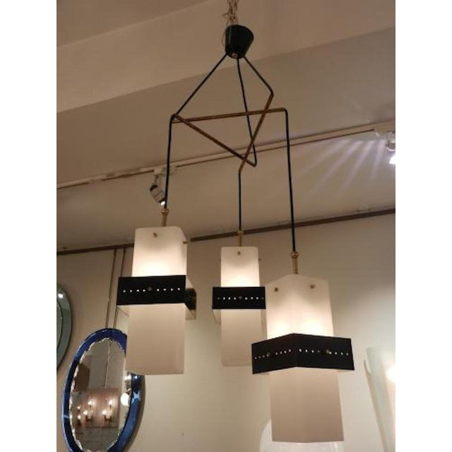 Brass Stilnovo Mobile Shaped Mid-Century Chandelier, Italy circa 1960 For Sale - Image 7 of 10
