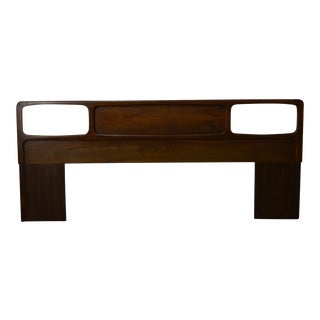 Mid Century Danish Modern Style Walnut King Size Headboard For Sale