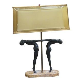 Art Deco Figrual Marble Lamp