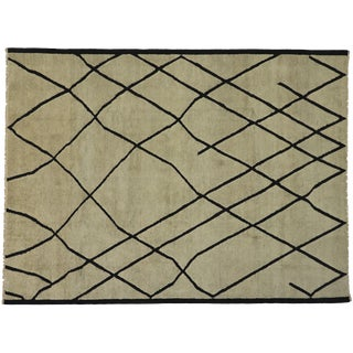 Contemporary Moroccan Modernist Style Area Rug - 10′2″ × 13′6″ For Sale