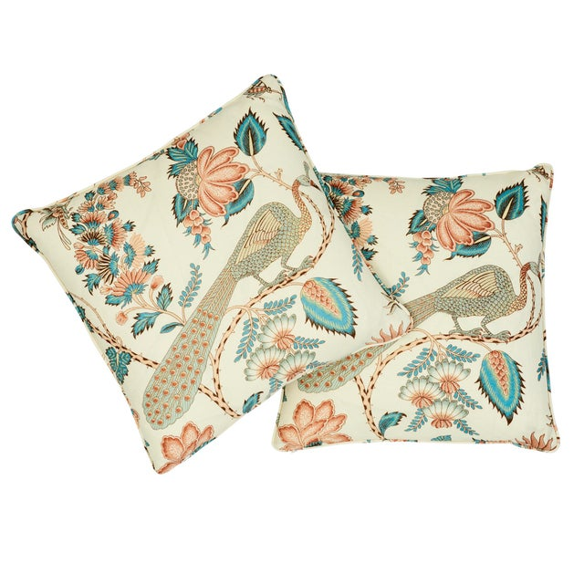 Schumacher Schumacher Campagne Pillow in Peacock & Rouge For Sale - Image 4 of 8