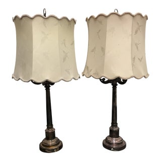 Vintage Mid-Century Silver Table Lamps - A Pair For Sale