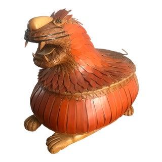 Vintage Orange Basket Keepsake Dragon Motif For Sale