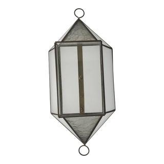 Diamond Shape Brass & Glass Wall Display Cabinet For Sale