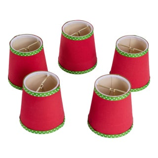 Madcap Cottage Red Fabric-Covered Chandelier Shades, S/5 For Sale