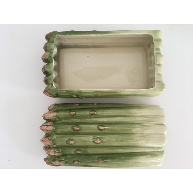 White Vintage Fitz and Floyd Hand Painted Majolica Style Asparagus Shaped Lidded Box/Dish For Sale - Image 8 of 13