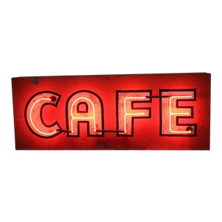 1930's Vintage Neon Sign Cafe For Sale
