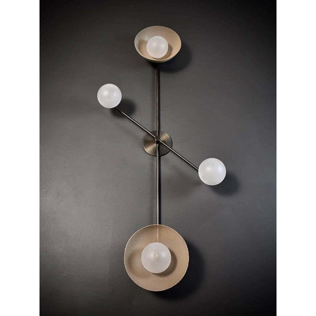 Blueprint Lighting Division Wall Sconce or Flushmount in Oil-Rubbed Bronze, Mesh & Blown Glass For Sale - Image 4 of 8