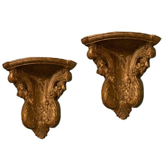 Wood 19th Century Vintage Gilt Corner Brackets- a Pair For Sale - Image 7 of 7