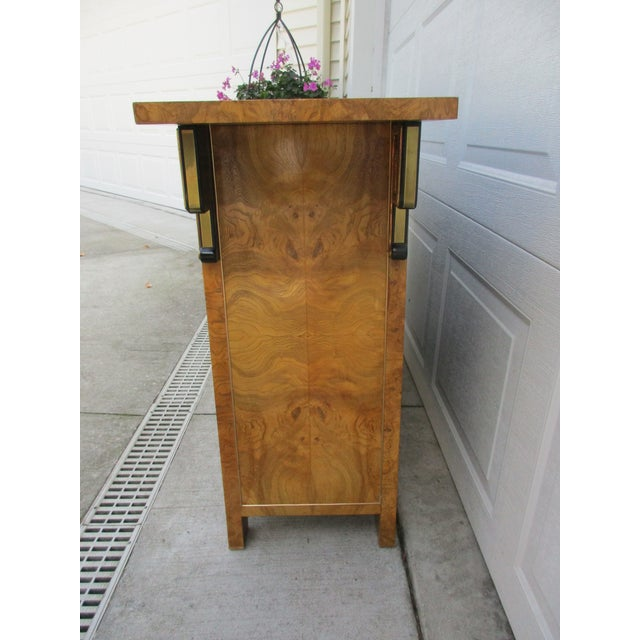 Mid-Century Modern Burlwood and Brass Console Cabinet -Attributed to Mastercraft For Sale - Image 3 of 12