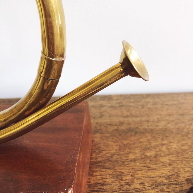 Vintage Brass Horn With Wood Base For Sale - Image 4 of 6