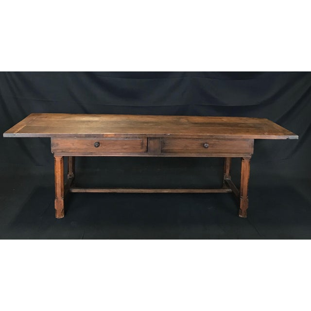 Early 19th Century Oak Farm Table With Sliding Drawers For Sale - Image 13 of 13