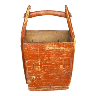 Aged Red Chinese Wooden Basket For Sale