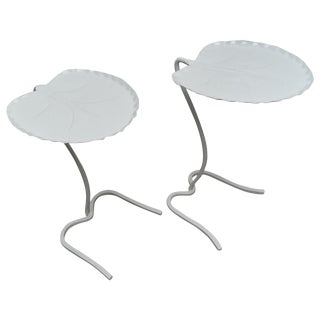 "1960s Salterini White ""Lily Pad"" Nesting Patio Tables - a Pair For Sale"