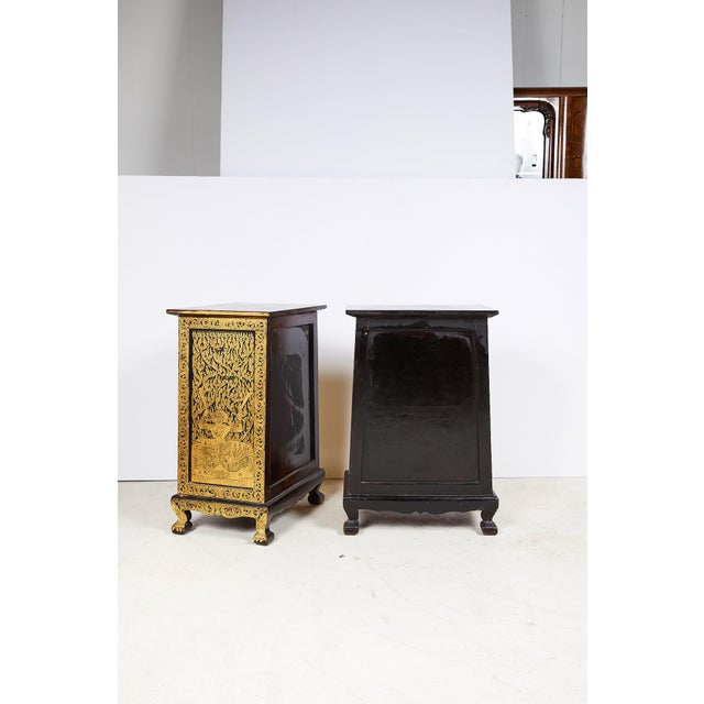 Pair of Thai Manuscript Cabinets of Lacquer and Gold Leaf, 20th Century For Sale In Atlanta - Image 6 of 13